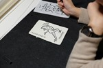湯島 ねこまつり うどよし書道教室 鳥獣戯画 筆ペンでなぞり描き